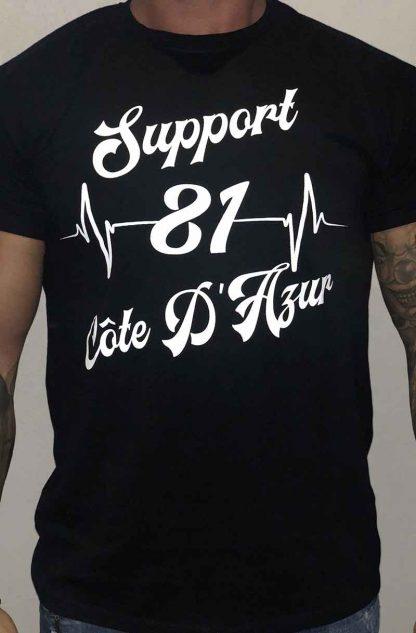 T-shirt noir Support 81 Côte d'Azur