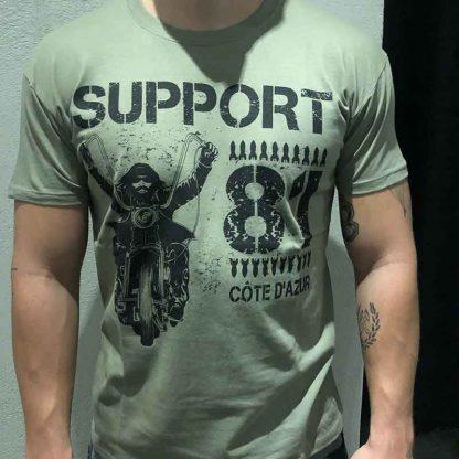 T-shirt kaki David Man Bombe Support 81 Côte d'Azur