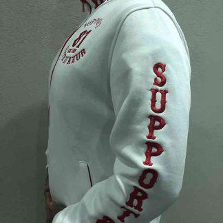 Gilet blanc zip rouge Support 81 Côte d'Azur